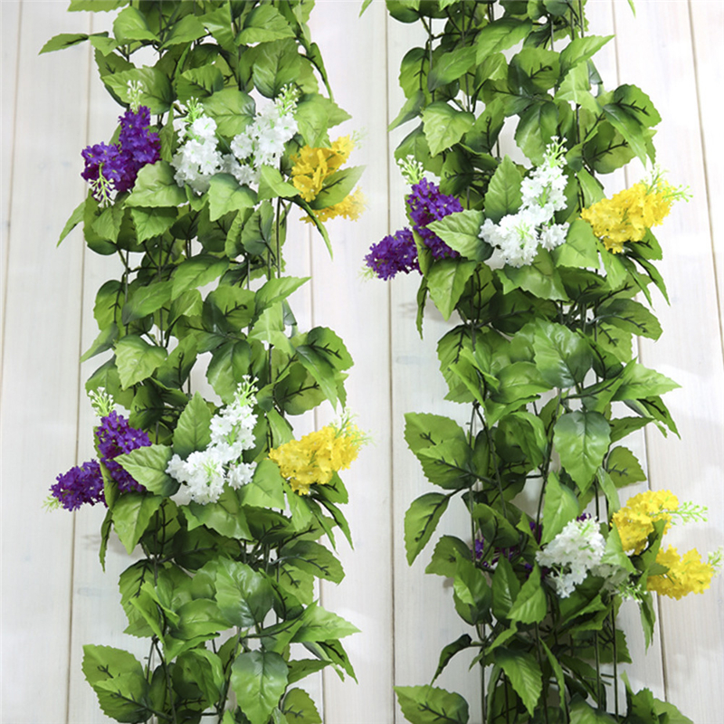 2pcs/lot Hyacinth Artificial silk Ivy vine flower hanging decorations garden home chair stair pipes Hyacinthus orientalis decor