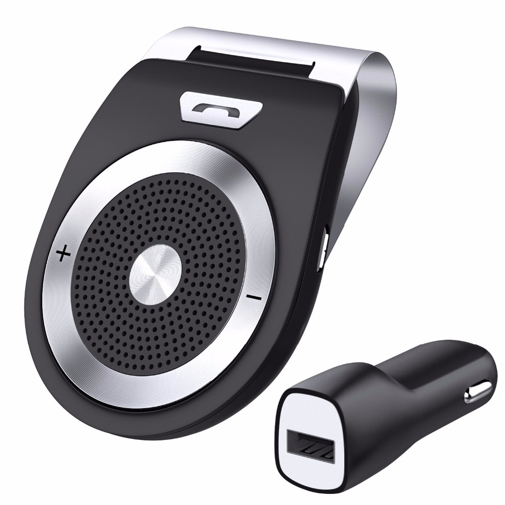 Bluetooth Car Kit Handsfree Noise Cancelling Bluetooth V4.1 Receiver Car Speakerphone Multipoint Clip Sun Visor for two Phones