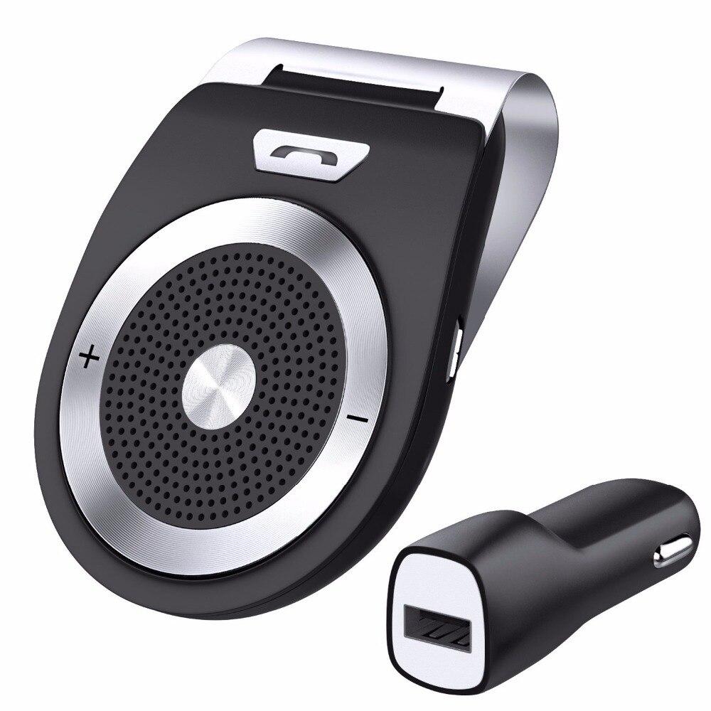 Bluetooth Car Kit Manos Libres Con Cancelación de Ruido Bluetooth V4.1 Receptor Altavoz Multipunto Coche Clip de Visera para dos Teléfonos