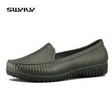 SWYIVY 2019 Soft Women Flats Bottom Rubber Galoshes For Shoes Shallow Waterproof Rain Shoes Woman Light Anti-slip Nurse Flats