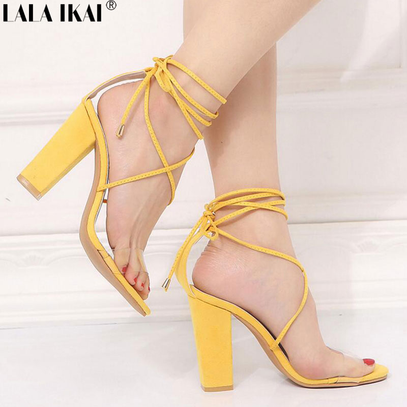 26f86e689e8e LALA IKAI Women Sandals High Heels Summer Shoes Ankle Strap Square Heel  Sexy Gladiator Party Ladies
