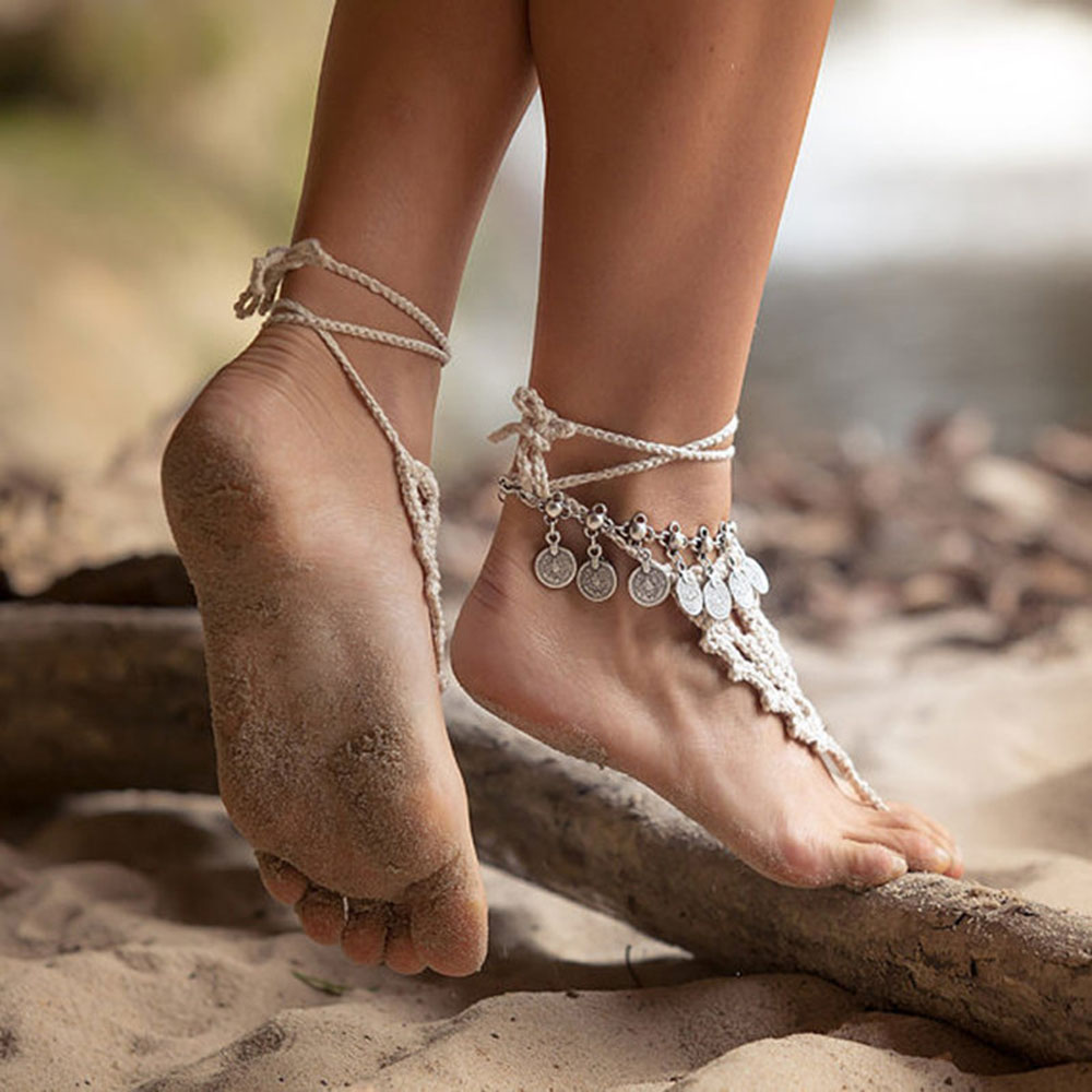 2016 Women Fashion Charming Boho Elegant Turkish Coin Silver Antalya Bracelet Gypsy Foot Sandal Beach Ankle Chain