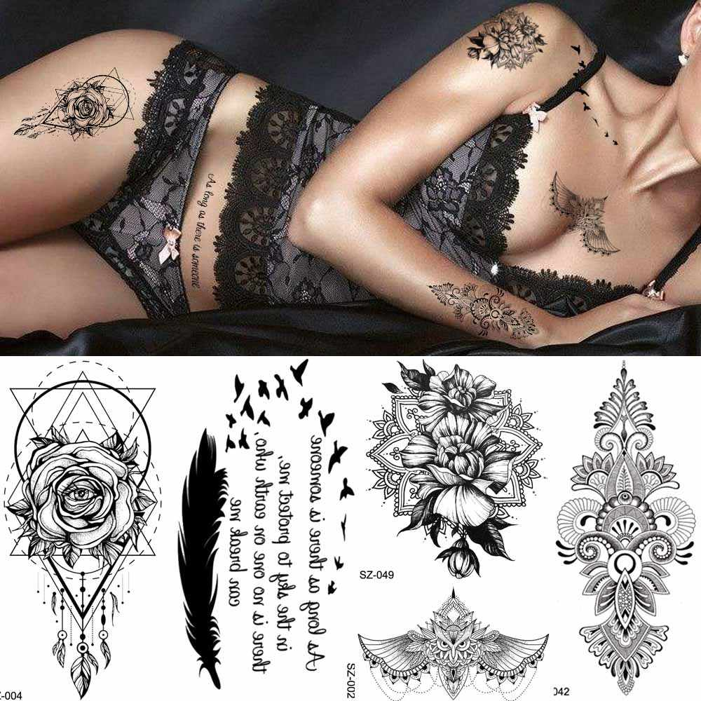 Black Lace Henna Totem Temporary Tattoo Women Sexy Body Arm Dream Catcher Tattoo Stickers Feather Birds Girls Fake Tatoos Chest