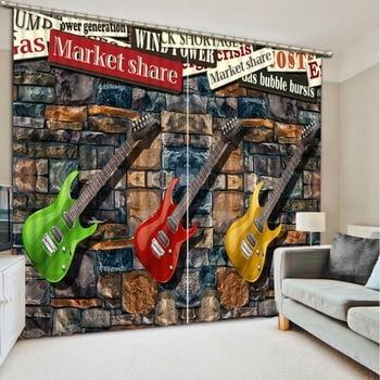 custom 3d curtains Creative guitar 3d window curtains for living room luxurious curtains white curtains 3d kitchen window