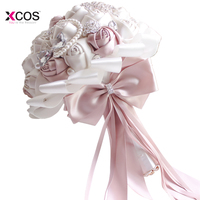 XCOS In Stock Gorgeous Beaded Crystal Wedding Bouquet Ivory Rose Bridesmaid Flowers Artificial Sapphire Pearl Bridal Bouquets