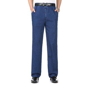 Men Casual Denim Pant Light Dark Blue Denim Trousers Man Spring Autumn Summer Jeans Mens Leisure Denim Pants Male Elastic Waist ligao men s jeans trendy leisure elastic slim pencil pants trousers male denim pant royal blue mens jeans vaqueros plus size