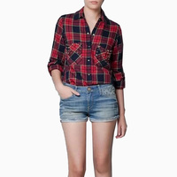 European Style Women Plaid Pocket Rivet Shirt Long Sleeve Turn Down Collar Blouse Female Casual Streetear
