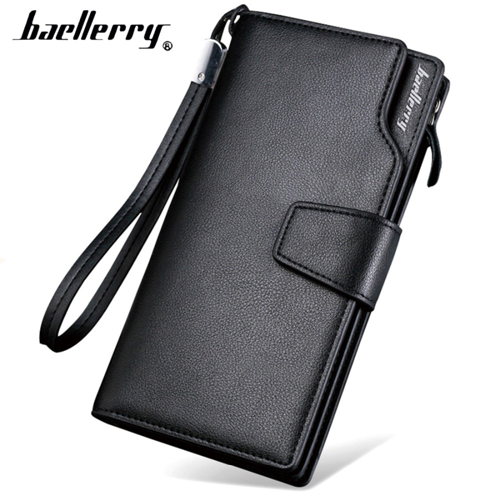 Card holder Leather Wallet men Long Design Quality passport cover Fashion Casual Mens Purse Zipper Multi