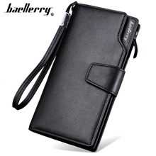 Card holder Leather Wallet men Long Design Quality passport cover Fashion Casual Mens Purse Zipper Multi-function coin purse 7X(China)