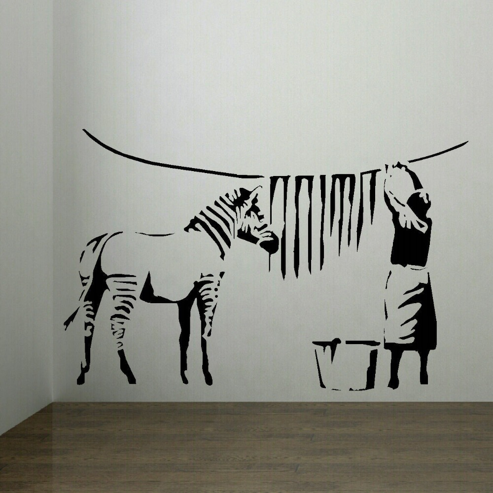 BANKSY ZEBRA STRIPES LAUNDRY ROOM WALL ART STICKER MURAL TRANSFER - Zebra stripe wall decals