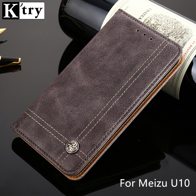 K'TRY Flip Leather Phone Cases For Meizu U10 Case Wallet Pouch Style Card Slot Stand Cover For Meizu U10 U 10