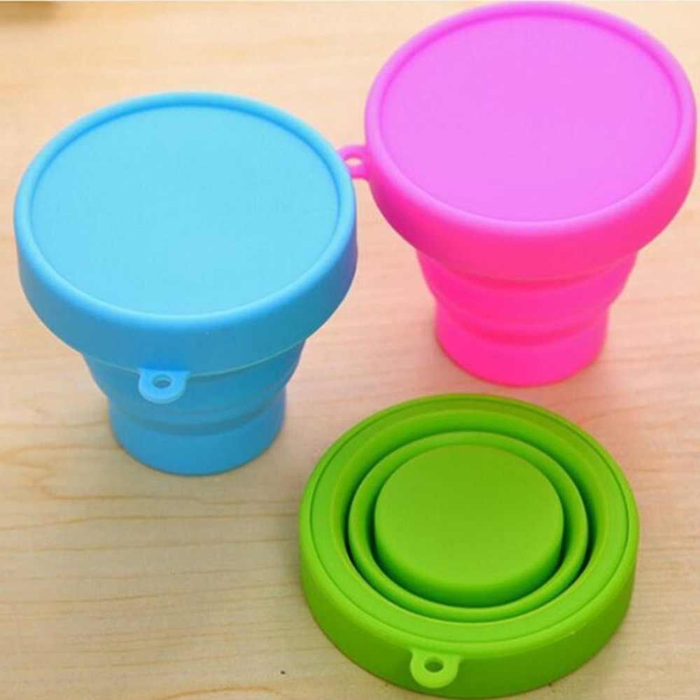 Yeni taşınabilir silikon geri çekilebilir katlanır kapaklı bardak açık teleskopik katlanabilir içme bardağı seyahat kamp su bardağı