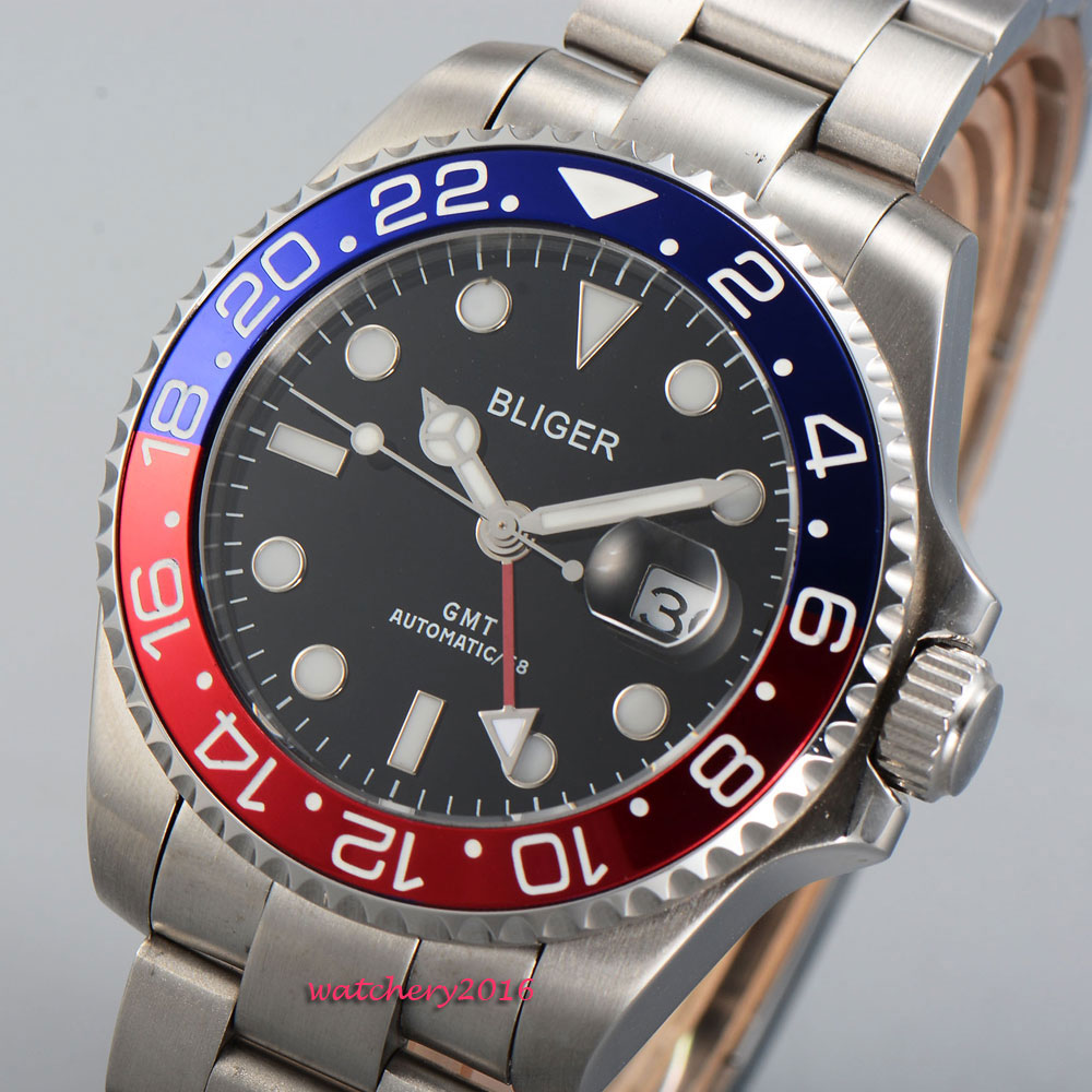 2018 Newest Hot 43mm Bliger Black dial Luminous hands Sapphire Glass GMT Date Window Automatic Movement Men's Mechanical Watch цена