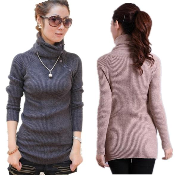 New 2015 Women's Winter Autumn Sweaters Turtlenecks With Buttons ...