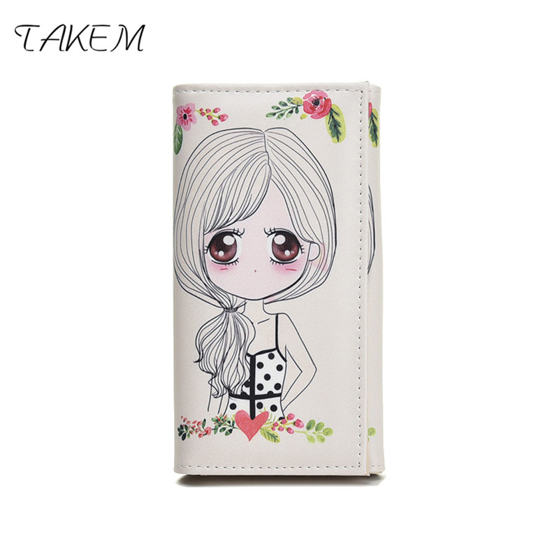 TAKEM New PU Leather Women hasp Long Cartoon image Purse Female Wallets Purse Card Holder cash coin bag Portefeuille femme new solid pu leather women hasp short tassel wallet female wallets purse card holder coin cash bag portefeuille femme pouch