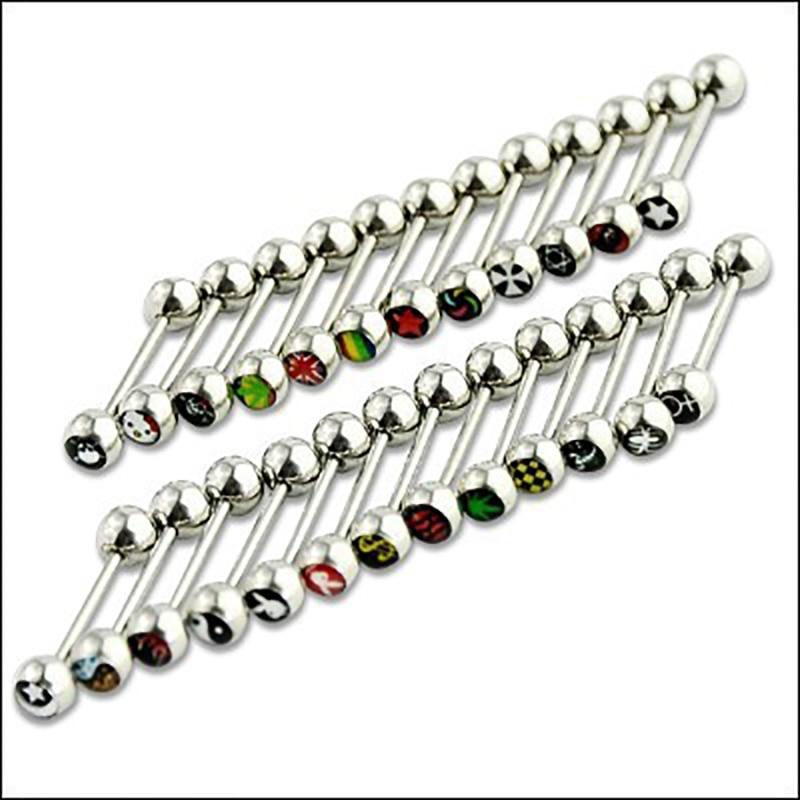 1 Pc Edelstahl Gelegentliche Anlieferung Runde Yaling Drip Logo Form Verschiedene Farbe Geometrische Form Zunge Mehrere Farbe Zunge
