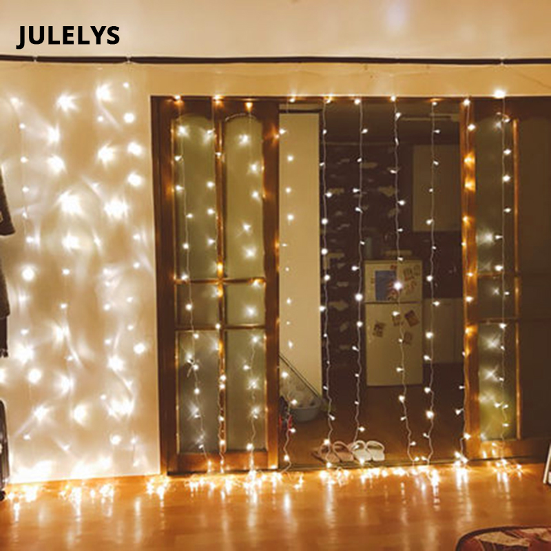JULELYS 10m x 3m 1000 Bulbs LED Curtain Lights Decoration For Wedding Christmas Holiday Graden Garland Light Outdoor For Square