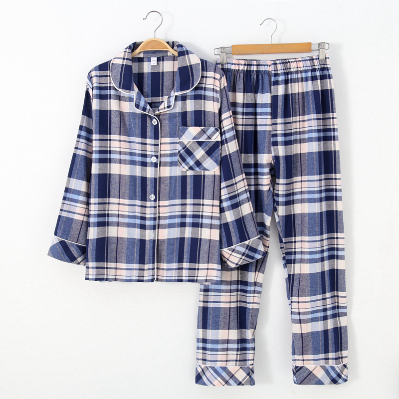 Women Plaid Yarn-dyed Cotton   Pajamas   Suit Long Sleeve Trousers   Pajama     Set   Cotton Autumn Sleepwear Sleep   Set   Household Clothes