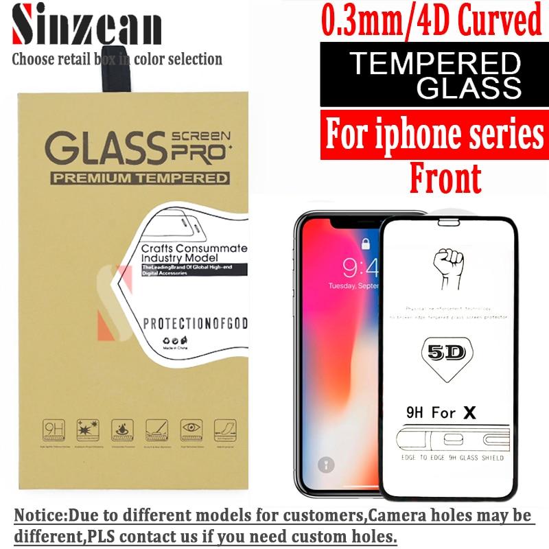 Sinzean 5D glass 100PCS For iPhone XS max 8plus 7 8 6S PLUS 7 PLUS XR