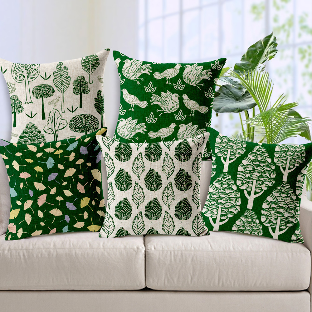 wholesale Nordic small fresh green foliage forest trees Cushion cover wedding gift Decorative home office sofa car Pillow case