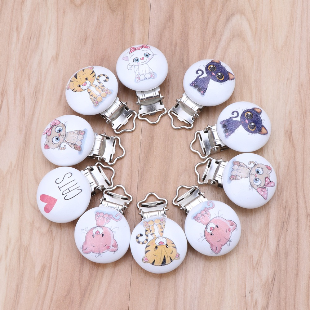 5Pcs//Lot Baby Pacifier Clips Mixed Printed Wood Metal Holder Clasps 4.4cm x 3cm