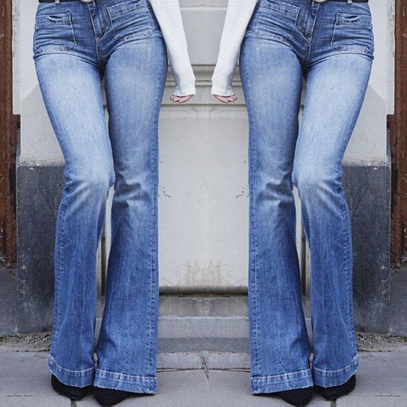 New Hot 3XL Women Fashion Juniors Bell Bottom High Waist Fitted Denim Jeans