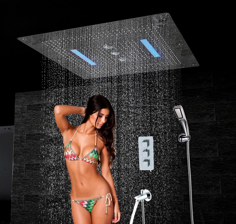 Bagno di lusso Doccia Set 6 funzioni Miscelatore Termostatico 800x800 Soffitto del LED Soffione doccia a Pioggia Cascata Swirl Doppio Pioggia HS5424