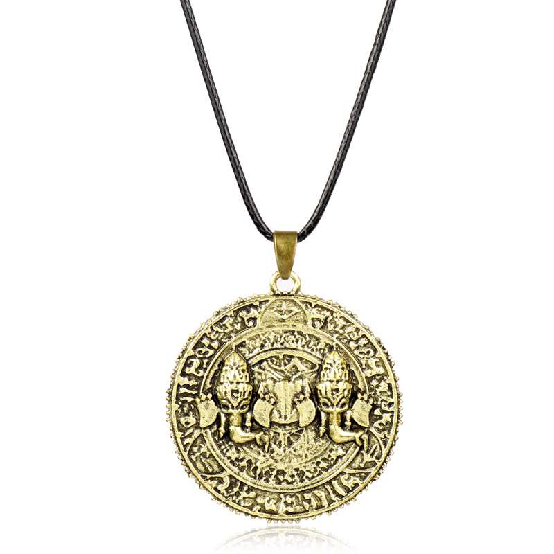 dongsheng Fashion Game PS4 Uncharted The Lost Legacy Necklace Antique Coin Metal Pendant Necklaces Rope Chain Choker Necklace