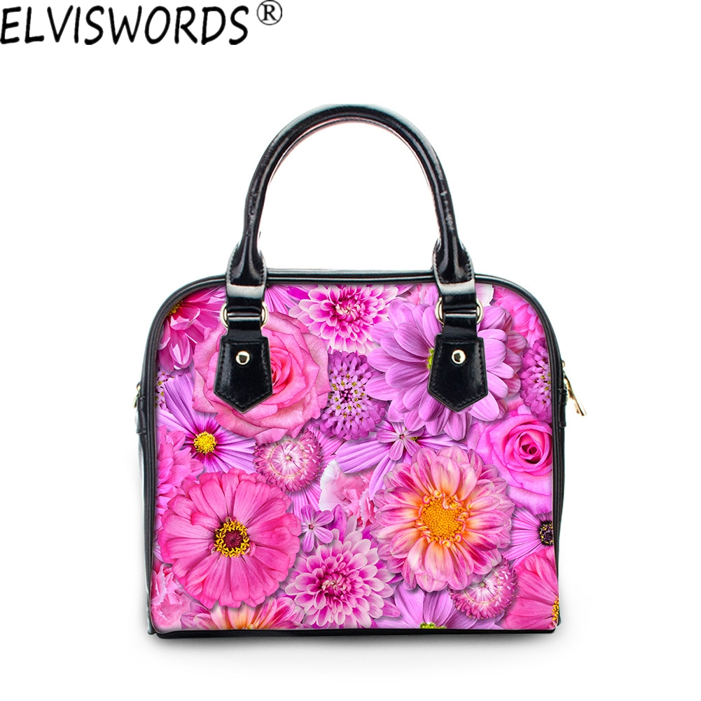 ELVISWORDS New Fashion Ladies Handbags Top Quality Elegant Women Casual Large Capacity Woman Travel Messenger Bag Shopping Bags forudesigns casual women handbags peacock feather printed shopping bag large capacity ladies handbags vintage bolsa feminina