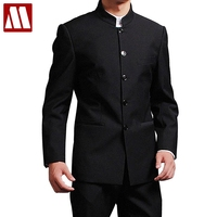 Jacket + Pants Men Formal Business Suits Pants Chinese Tunic Suits Black New Arrival Traditional Mandarin Plus Size XXXXL F048