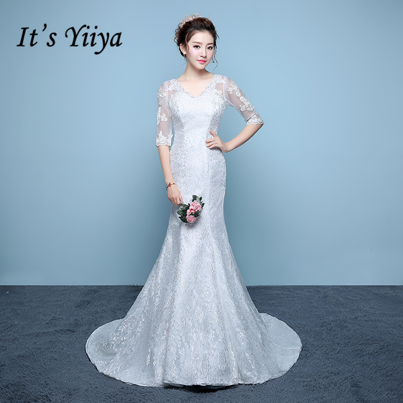 It's YiiYa Off White Sales Half Sleeve V-Neck Wedding Dress Embroidery Mermaid Lace Up Floor Length Pattern Wedding Gowns XXN195