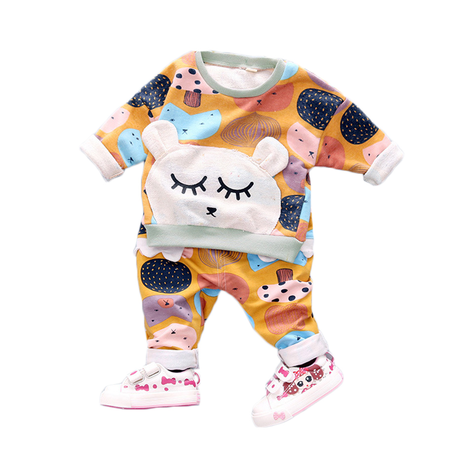 2 pcs sets toddler girl clothing set soft fabric cartoon for Fabric for kids clothes