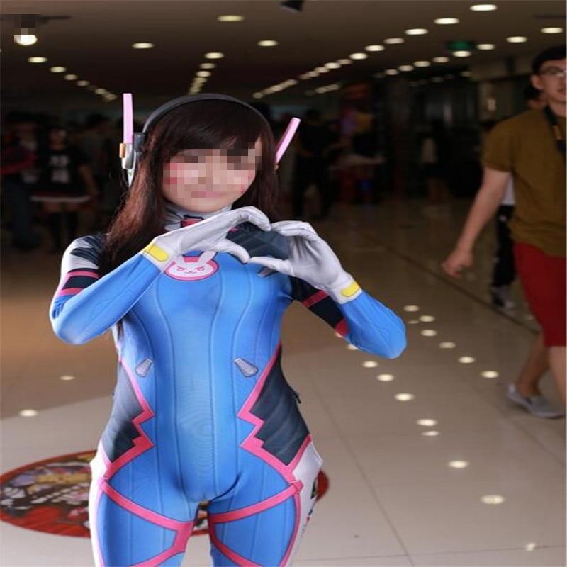 Halloween 3D Print  D.Va Cosplay Costume Lycra Spandex DVA Cosplay Zentai  Female d va cosplay Catsuit