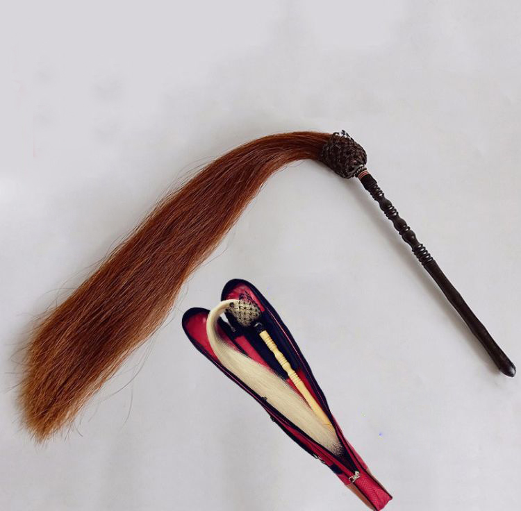 Black Daoist Fuchen Brown Hair Horsetail Whisk