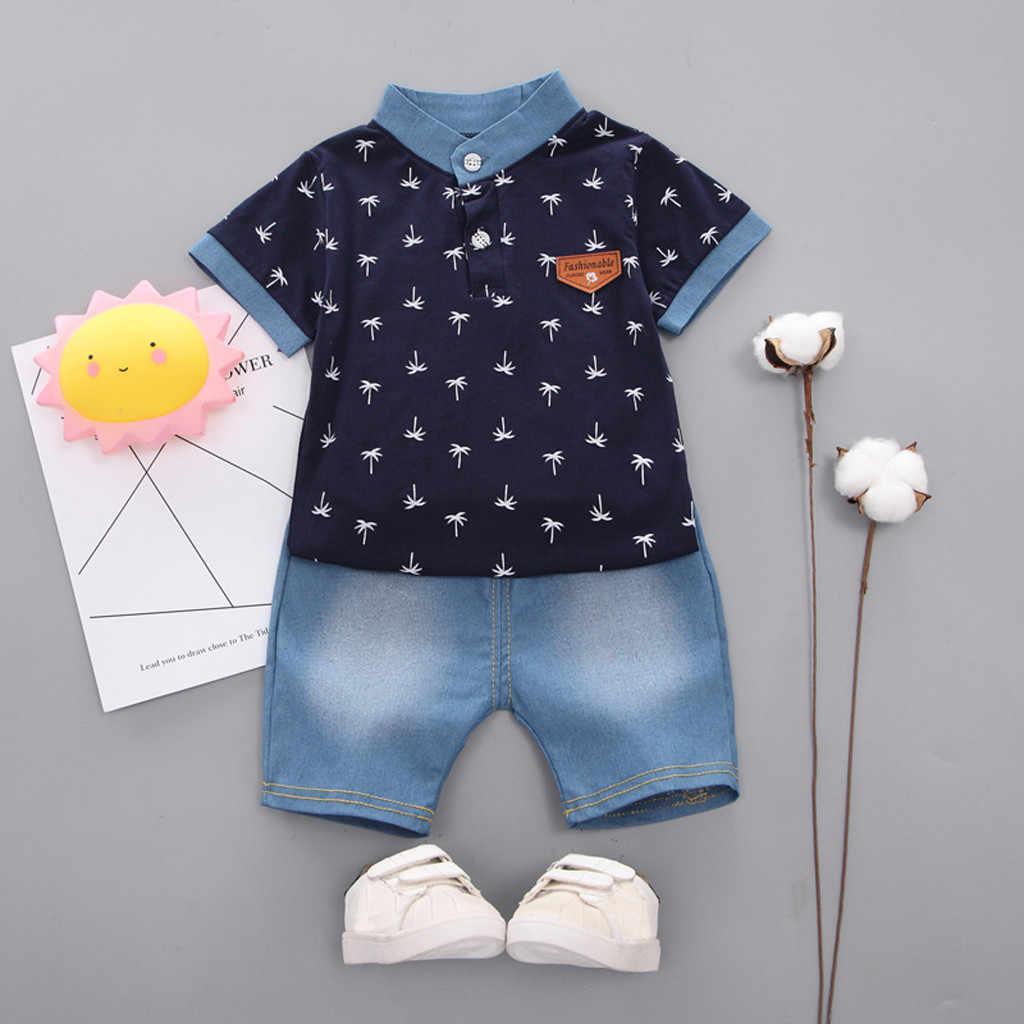 Crianças da criança do bebê roupas menino verão manga curta árvore padrão camisa topos + calças denim conjuntos de roupas dos miúdos recém-nascidos ternos do esporte