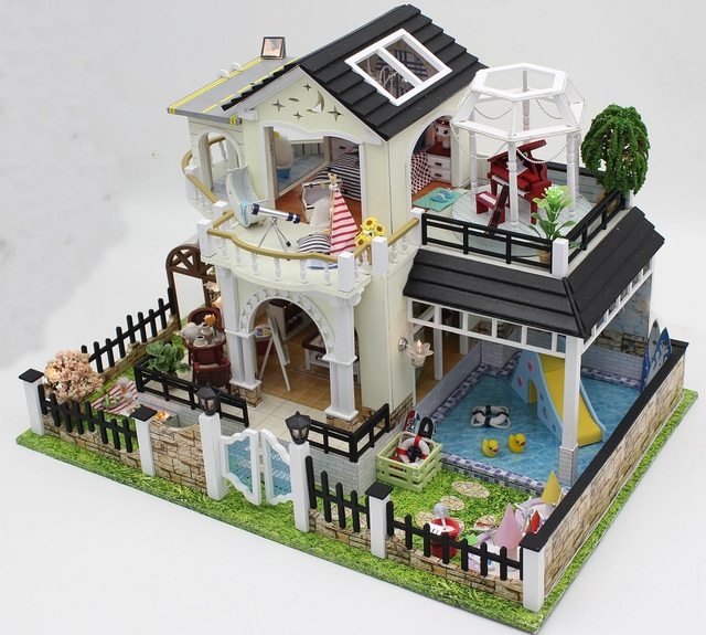 24th diy wooden handcraft doll house 3d model kit miniatures dollhouse beatiful villa furnitures - Home 3d Model