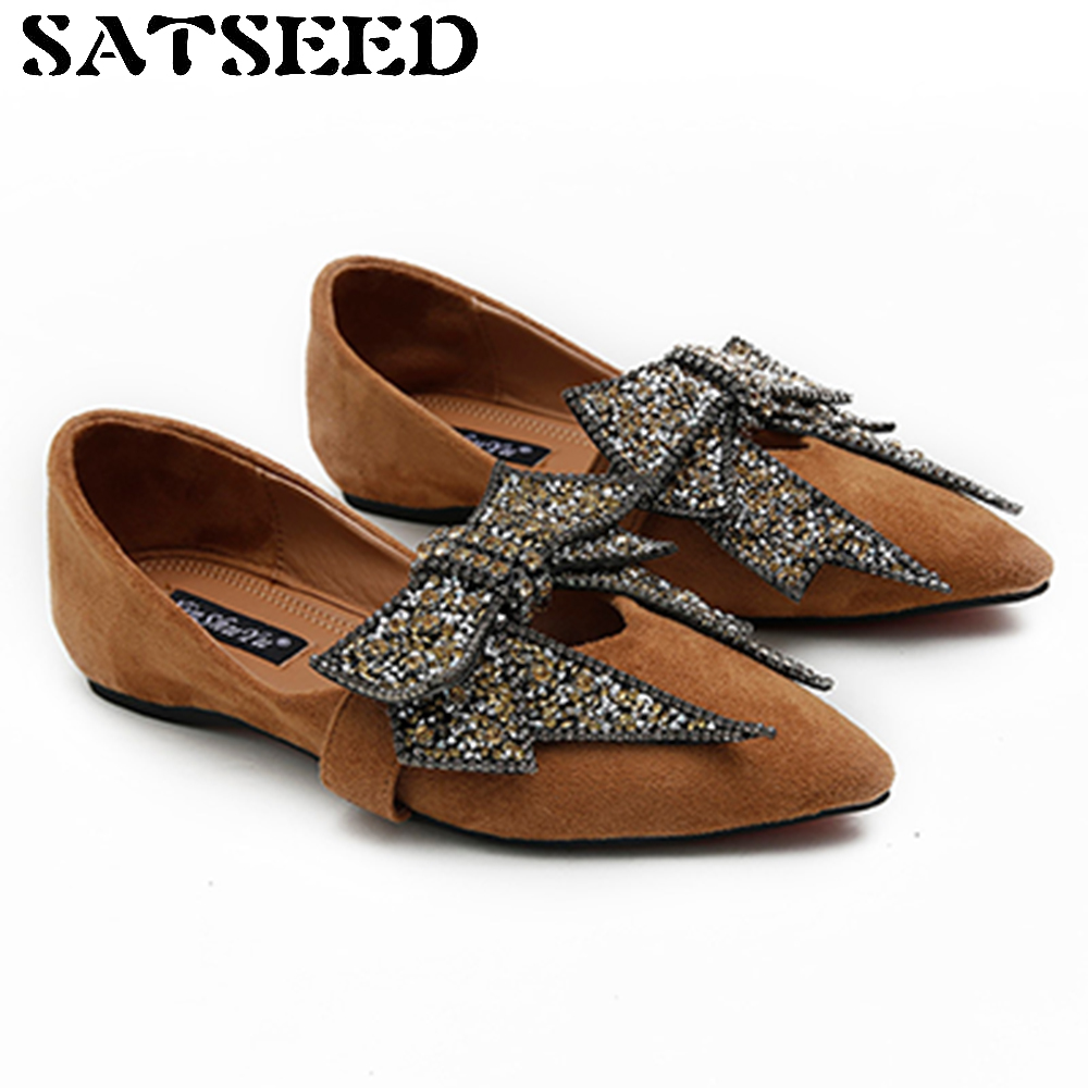Women Flats 2017 Autumn Pointed Toe Ankle Shoes Leather Women Shoes Black Sandals Casual Shoes Crystal Bow Fashion New 2017 summer new fashion sexy lace ladies flats shoes womens pointed toe shallow flats shoes black slip on casual loafers t033109