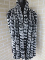 Genuine  rex rabbit fur  scarf wrap cape  collar  long size  black with white tips shipping free