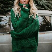 XIKOI coreano Otoño e Invierno mujeres suéter de manga larga cuello alto  tejido Jersey gris caqui suelto sólido mujer Jersey Top. 6422c7a54a80