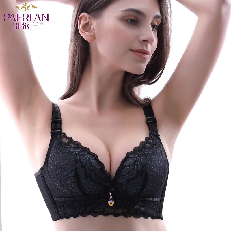 Underwear & Sleepwears Paerlan Lace Comfortable Chest Push Up Wire Free Bra New Adjusted-straps Sexy Underwear Bra 5/8 Cup 2019 New Style Lingerie