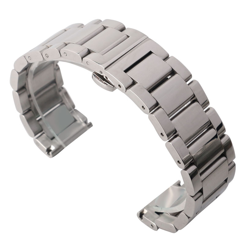 18/20/22mm <font><b>HQ</b></font> Men <font><b>Watch</b></font> Band Strap Solid Link Deployment Buckle Push Button Women Silver Fashion Stainless Steel Bracelet image