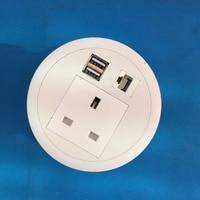 2019 All white UK Power USB Charger Internet Desk Socket Grommet box