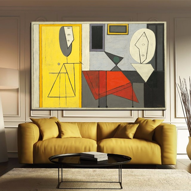 Modern Classic PICASSO Abstract King Size Painting Wall Art Picture ...