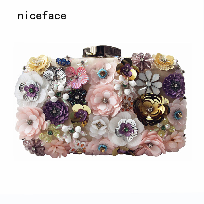 2017 woman's evening bag new unique wallet Fashion Pink sequins Beaded Clutch high-grade beaded flower stereo feminina handBag japan and south korea in 2016 the new evening bag luxury sequins mesh ladies handbags fashion high grade magnetic buckle bag