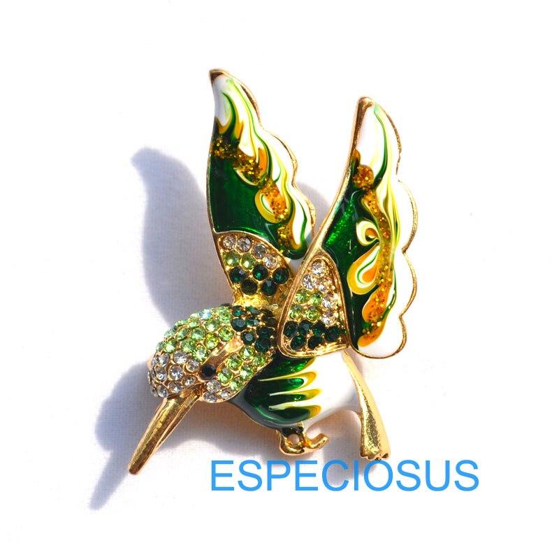 Элегантная булавка золотого цвета, Женская Брошь, стразы, подарки, мультфильм, жужжащая птица, нагрудная булавка, аксессуары, ювелирные изделия, четыре цвета, окрашенные - Окраска металла: green