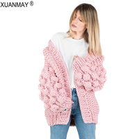 Winter Women's Thick Cardigan Sweater Coat Thick Wool Handmade Woven Sweater Cardigan Shawl High Street Style Warm Pink Sweater