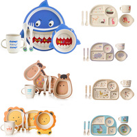 5pcs/set bamboo fiber Dinnerware Baby bamboo plate set cute dinner Tableware for children