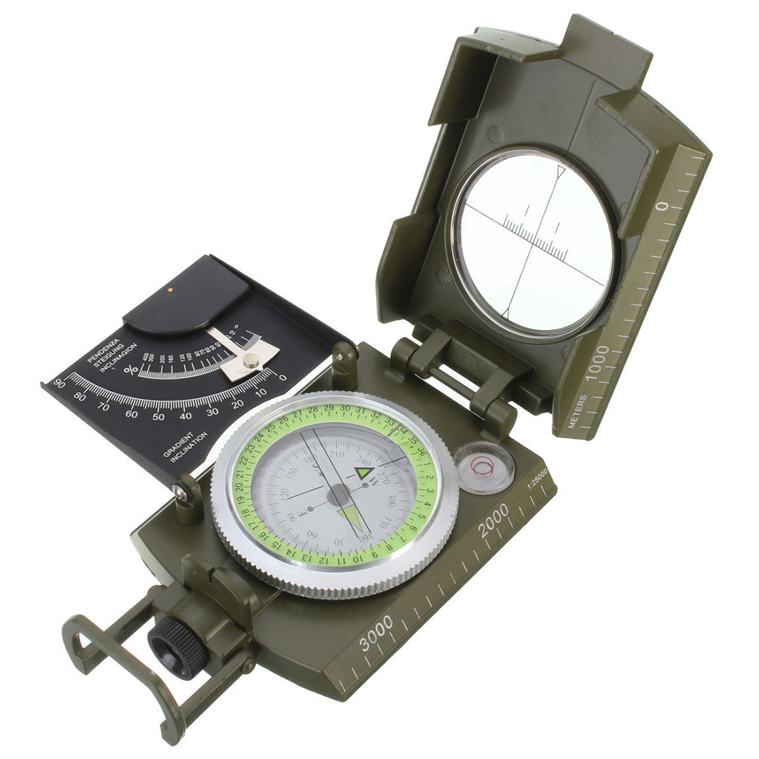 2018 New Professional Military Army Metal Sighting Compass clinometer Camping eyeskey compass waterproof professional aluminum sighting clinometer slope height measurement map outdoor compass fast shipping