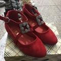 2016 новых осенью девушки танцуют shoes for baby квартиры дети мода shoes kids party shoes принцесса горный хрусталь сандалии малыша красный