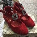 2016 nuevo otoño girls dance shoes para bebé niños pisos fashion shoes kids party shoes princesa rhinestone sandalias del niño rojo